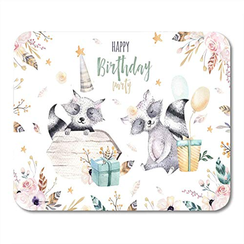 pad-Matte, Cute Baby Racoon Nursery Animal for Children Bohemian Watercolor Mouse Pad, Desktop Computers mats ()