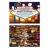 Hochzeitseinladungen (20 Stück) Las Vegas Poker Casino Roulette bei Nacht Einladungskarten