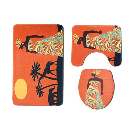 TOPBATHY 3 unids/Set Conjuntos de baño Esteras Alfombra de baño Antideslizante Asiento del Inodoro Tapa del Inodoro para el baño (Modelo de Ciervo de Elefante de Mujer Africana)