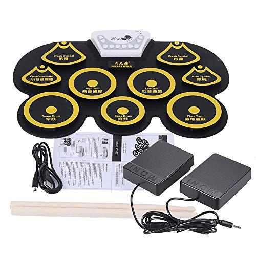 Youtaimei Producto satisfactorio Roll Up Drum Kit Silicone Plegable Portátil USB USB Roll-up Batería electrónica Kit con bastón y Pedal Pedal de práctica Kits de batería Midi