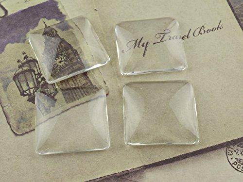 4 quadratische Cabochons Glas klar, 25 mm von Vintageparts, DIY-Schmuck