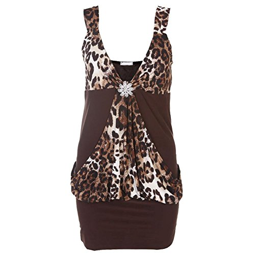 Da donna Mini pezzi Per Feste affrontare vestito da donna Club vestito dimensioni parte superiore 8-20 Chocolate/ Center Leopard