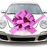 Quacoww Rosa Fiocco Gigante Auto Car Pull Bow per Diserbo Auto Decorazione, Decorazione Natalizia, 1 Pezzi