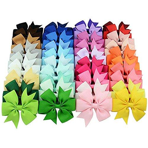 Gemini _ Mall® Band Haar Bögen mit Alligator Clips, 40verschiedene Bögen in Solid Colors (Glitter Haar Bögen)