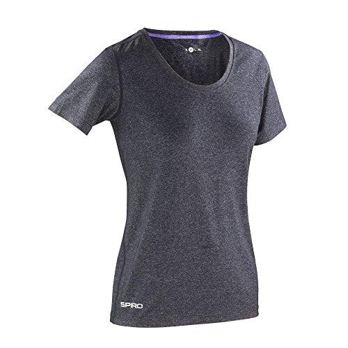 Spiro - T-shirt de fitness à manches courtes - Femme Corail/Vert citron