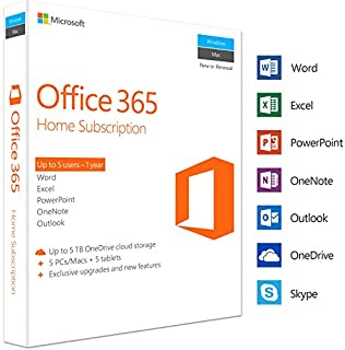 Microsoft Office 365 Home | 5 Devices | 1 Year | PC/Mac | Box (B01FUBOT14) | Amazon Products
