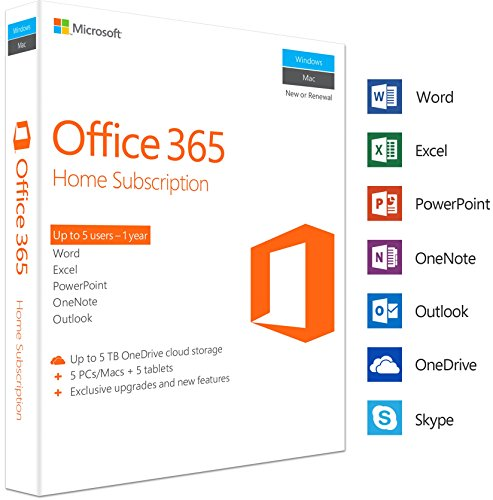Microsoft Office 365 Home | 5 Devices | 1 Year | PC/Mac | Box