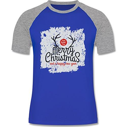 Weihnachten & Silvester - Merry Christmas Happy new year Grunge Hirschgeweih - zweifarbiges Baseballshirt für Männer Royalblau/Grau meliert