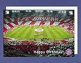 Fussball Geburtstag Karte Grußkarte Bayern München Stadion 16x11cm