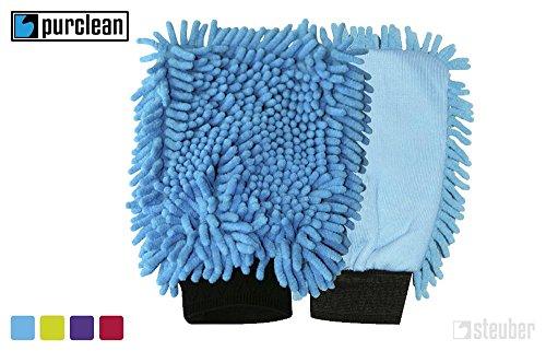 purclean Microfaser Handschuh Duo 2er Set - kombiniert Putzlappen und Staubwedel, sortiert (Mikrofaser-bad)