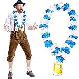 German Trendseller - Bayern Hula - Kette Deluxe + Gratis Flaschenöffner + ┃ Neu ┃ Oktoberfest ┃ Blau / Weiß ┃ Die Halskette für Lustige Gaudis ┃ 3 Stück
