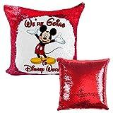 Alicert5II Custom Disney Pailletten-Kissen were Going to Disney enthüllt Überwurfkissen Geschenk Micky Maus Disney Urlaub Wende-Pailletten-Kissen