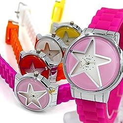 Neue PNP glänzende silberne Uhrgehäuse-Silikon-Magenta-Band-Frauen-Mode-Uhr