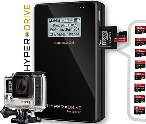 """1000 GB / 1TB HDD HyperDrive for GoPro - Mobiler Fotospeicher / Videospeicher / Datenspeicher für GoPro und andere Action-Kameras, Digitalkameras, Camcorder und externe Festplatte (6,35 cm (2,5"""") SATA HDD, USB 3.0, LCD-Display, SDXC/SDHC/SD Kartenleser, 30MB/s Backup, Bis 350 GB Backup pro Akkuladung, 3850mAh Akku). HDGP mit integrierter 1000GB / 1 TB Festplatte (HDD). Angebot von Digitalix24."""