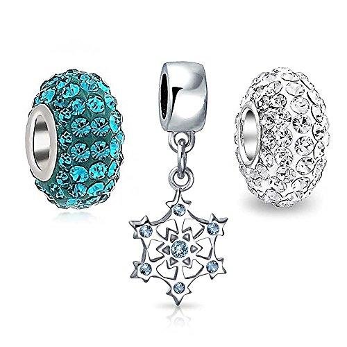 Set di 3 Blu Cristallo Bianco Natale Il Simbolo del Fiocco di Neve 925 Argento Sterling Fascino Cordone per Donne