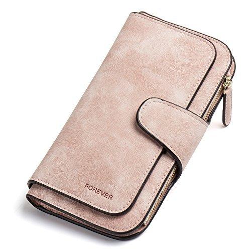 Geldbörse Damen Weich Leder Lang Clutch Portemonnaie Groß Geldbeutel viele Kartenfächer für Frauen pink