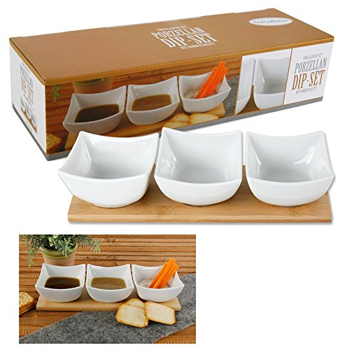 Snackschalen für Dips auf Bambustablett 4-tlg Dippschalen
