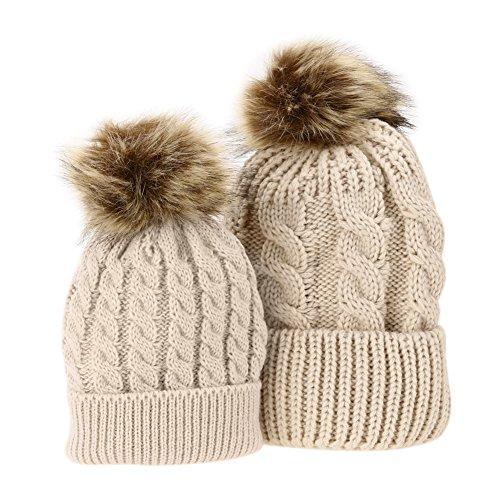 Domybest 2 Pcs Mother & Baby Daughter/Son Winter Warm Hat Cap Cotton Knitted Bobble Parent-Child Hats (Khaki)