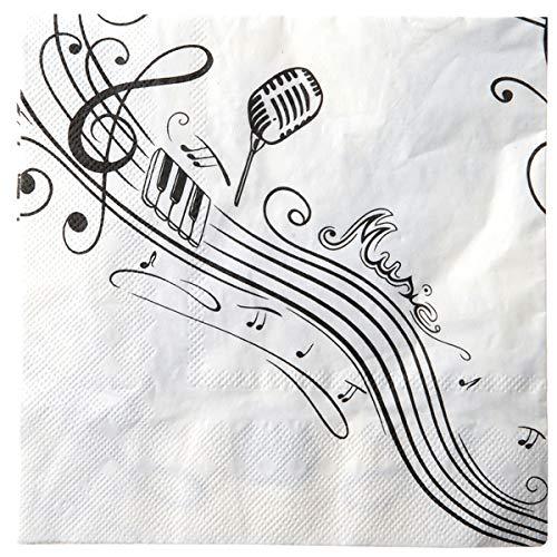 Jakopabra 20 weiße Servietten mit schwarzem Aufdruck in Musiknoten Design