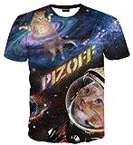 Pizoff Unisex Print Schmale Passform T Shirts mit Karikatur Katze 3D Druckmuster Katze in Weltall AL067-36-M