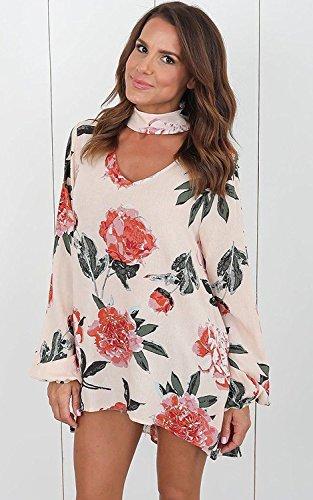 Tomwell Autunno Donna Collare V Tunica Unico Moda Elegante Manica Lunga Bohemian Fiore Stampato Maglietta Camicetta T Shirt Blusa Beige