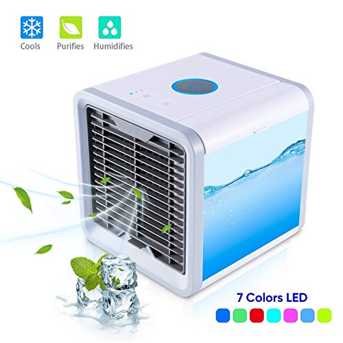Eletorot Air Cooler Portable Mini Personal Space Air Conditioner with humidifier & purifier with 7 Colors LED Lights USB Mini Portable Air Conditioner for Room, Office,Outdoor