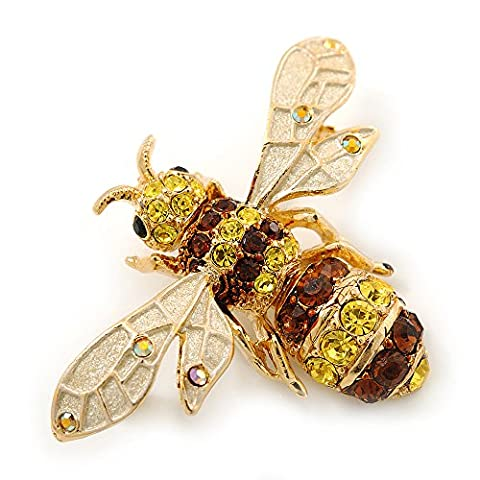 Classic Yellow/ Brown Austrian Crystal Bee Brooch/
