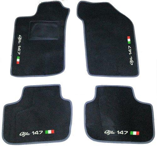 alfa-romeo-147tapis-pour-voiture-noir-avec-bordure-gris-set-complet-de-tapis-en-moquette-sur-mesure-
