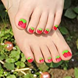echiq niña amor bayas rojas pre-diseñadas falsa prensa en Toe Nail Tips para dedos de los pies 24pcs