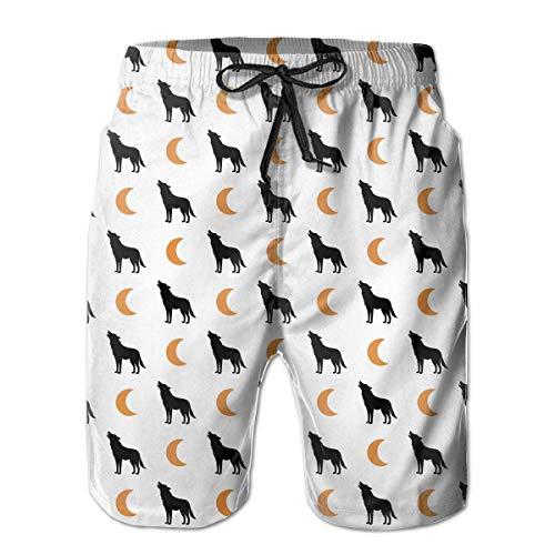 Jiger Wolf and Moon Pattern Men's Board/Beach Shorts Drawstring Bathing Suit L - Mesh Cheer Shorts
