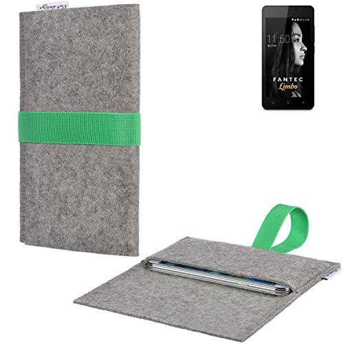 flat.design Handyhülle Aveiro mit Filz-Deckel und Gummiband-Verschluss für FANTEC Limbo - Sleeve Case Etui Filz Made in Germany hellgrau grün - passgenaue Smartphone Tasche für FANTEC Limbo