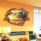 Pegatina de pared vinilo adhesivo efecto 3D decorativo para cuartos, salon,cuarto de juegos,dormitorio,cocina,sala de estar ...Paisaje paraiso palmera