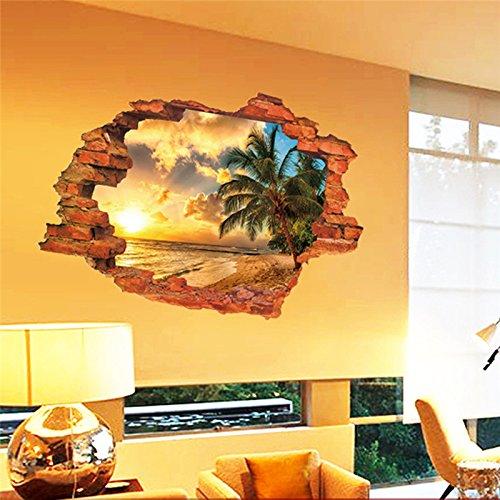 Pegatina de pared vinilo adhesivo efecto 3D decorativo para cuartos, salon,cuarto de juegos,dormitorio,cocina,sala de estar ...Paisaje paraiso palmera y playa de OPEN BUY
