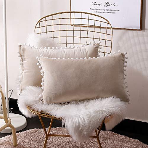 Fabthing federe cuscini divano velluto fodere cuscini decorativi copricuscini rettangolari vintage moderno per salotto letto casa 30x50cm beige