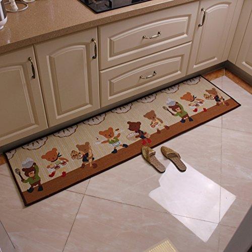 KOOCO Japanische Rose Küche Matte, Wasseraufnahme und Öl Absorption, lange Streifen Matte, Schiebetür, Tuch, matte, Eingangsmatte, 48 * 120 Cm, Kaffee tragen