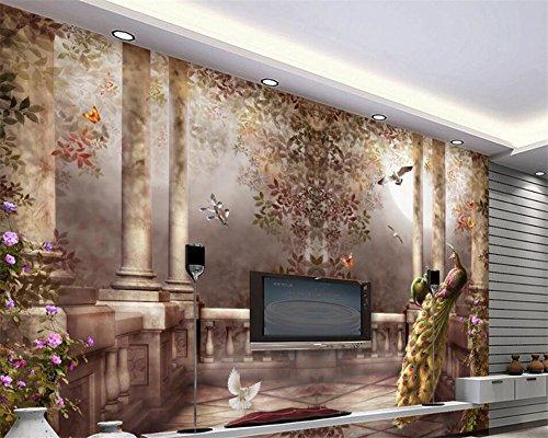 Wapel Im Europäischen Stil Garten Römische Säule Dreidimensionale Öl Malerei 3D Wohnzimmer Schlafzimmer Tv Wallpaper Für Wände 3 D Seidenstoff 350x250CM