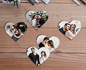 Bhaiji Enterprises Wooden Photo Fridge Magnet Heart shape, Personalized, Home Decor Gift (3 x 3 inch, Multi-Colour)-Set of 5