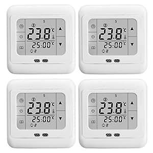 LCD Touchscreen Raumthermostat Elektrisch Digital Tempraturregler Thermostat Fußbodenheizung elektrisch 16A weiße Hintergrundbeleuchtung Neu DE(4 PACK)