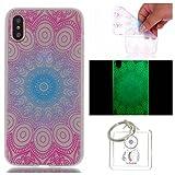 Hülle Leuchtende iPhone X Silikon Etui Handy Hülle Weiche Transparente Luminous TPU Back Case Tasche Schale Leuchten In Der Nacht Für Apple iPhone X + Schlüsselanhänger (P) (15)