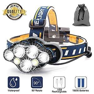 Stirnlampe, 8 LED 18000 Lumen Kopflampe, Superheller USB Wiederaufladbare Wasserdicht Leichtgewichts Stirnleuchte für…