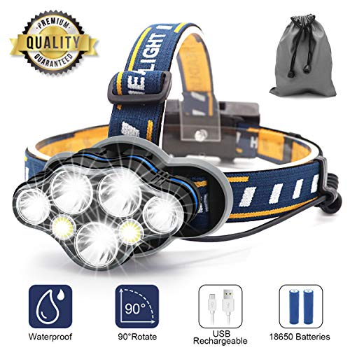 SYOSIN Stirnlampe,7 LED 17000 Lumen Kopflampe,Superheller USB Wiederaufladbare Wasserdicht Leichtgewichts Stirnleuchte für Camping,Fischen,Laufen,Joggen,Wandern,Lesen,Arbeiten