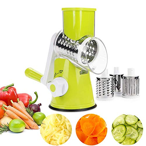 NOBGP Käseregser Rotary Handheld Gemüse-Slicer Rotary Drum Grater 3-Blades Manual Mandoline Edelstahl Chopper mit Saugcup Feet Fruit Cheese Shredder,Green Handheld Mandoline Slicer