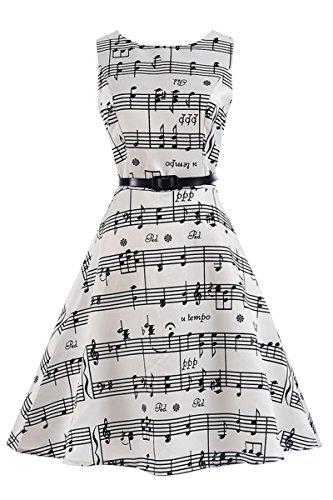 Jahre Plus Kleidung 80er Size (YMING Petticoat Kleid Hepburn Stil Swing-kleid AbschlussballkleidHochzeitgast Kleid Blumenkeider,Weiß,Musik,M / DE)