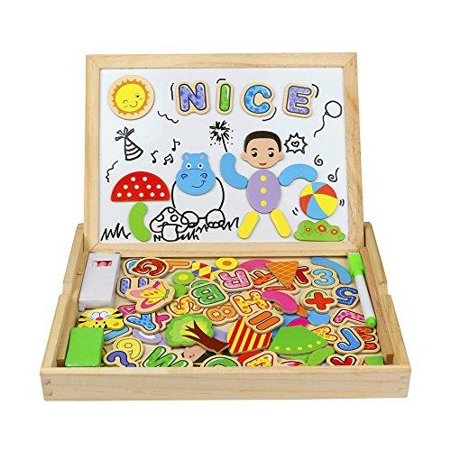 Dessin magnétique en bois planche à écrire 2 en 1 puzzles 93 + 7 pièces cadeau de Noël pour les enfants 3 4 5 6