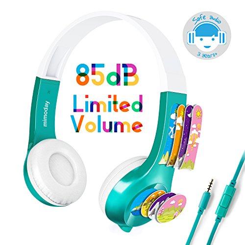 Mimoday Kinder Kopfhörer Begrenzter Lautstärke mit Mikrofon für Jungen und Mädchen iPad iPhone Kindle Fire Tablet Smartphones-Grün (Kinder-kopfhörer Für Amazon Kindle Fire)