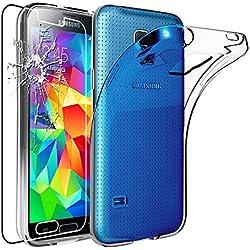 ebestStar - Compatible Coque Samsung S5 G900F, Galaxy S5 New G903F Neo Etui Housse Silicone Gel Anti-Choc Ultra Fine Invisible, Transparent + Film Verre Trempé [Appareil: 142 x 72.5 x 8.1mm, 5.1'']