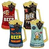 Preis am Stiel Set Metall-Flaschenöffner auf Holzbrett Bierkrug | Wand-Flaschenöffner | Vintage | Retro | Geschenkidee für Männer | Wohnaccessoire | Wanddeko | Bier-Motiv | Öffner | Bieröffner