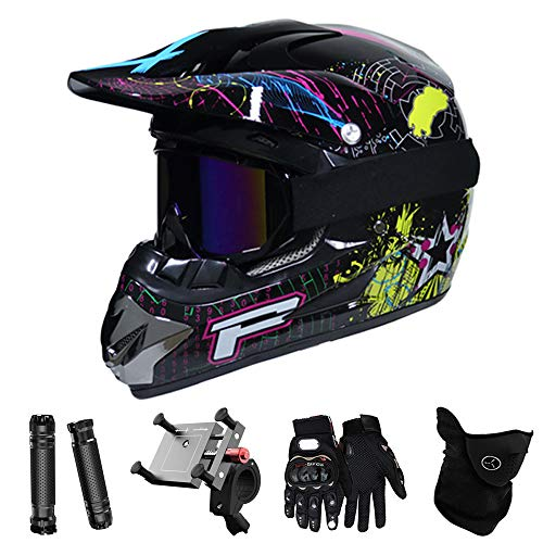QYTK® Full Face Motocross Helm Motorradfahren Enduro Herren Set, MT-50 Off-Road Motorradhelm mit Visier Brille Handschuhe Maske Motorrad Griffe Handyhalter per ATV Moped Schneemobil Buntes Muster,M