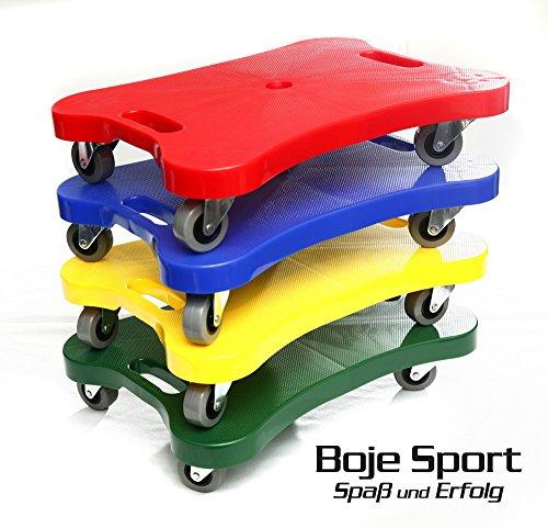 4er Set Super-Rollbrett für Kinder 1x rot, 1x grün, 1x gelb, 1x blau - Super Rollbrett für Kinder mit praktischen Griffen zum sicheren Halt, LxBxH: 40x30x7 cm, belastbar bis 75 kg - Scooter Board