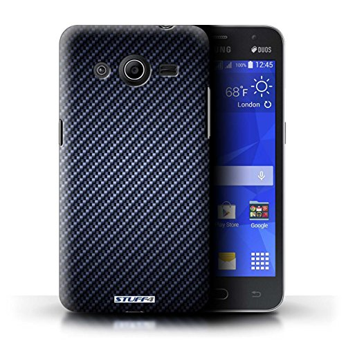 Kobalt® Imprimé Etui / Coque pour Samsung Galaxy Core 2 / Gris conception / Série Motif de Fibre de Carbone Bleu